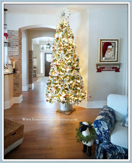 Cottage -Farmhouse- Christmas -Trees-DIY-Tree-Stand-Book-Page-Wreath-Tree-Topper-From My Front Porch To Yours