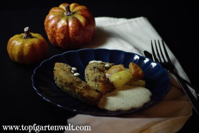 Kürbis richtig panieren - Foodblog Topfgartenwelt