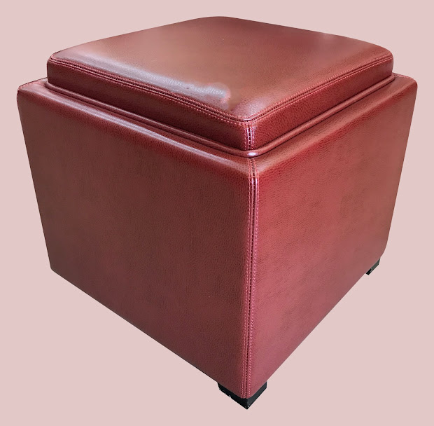 Leather Storage Ottoman with Tray Top