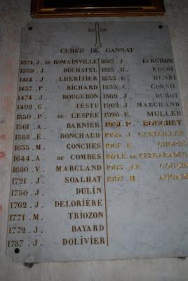 Liste des curés de Gannat