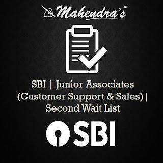 SBI | Junior Associates (Customer Support & Sales) | Second Wait List