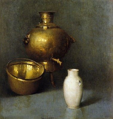 Magnificent still life with brass pots by Emil Carlsen Soren