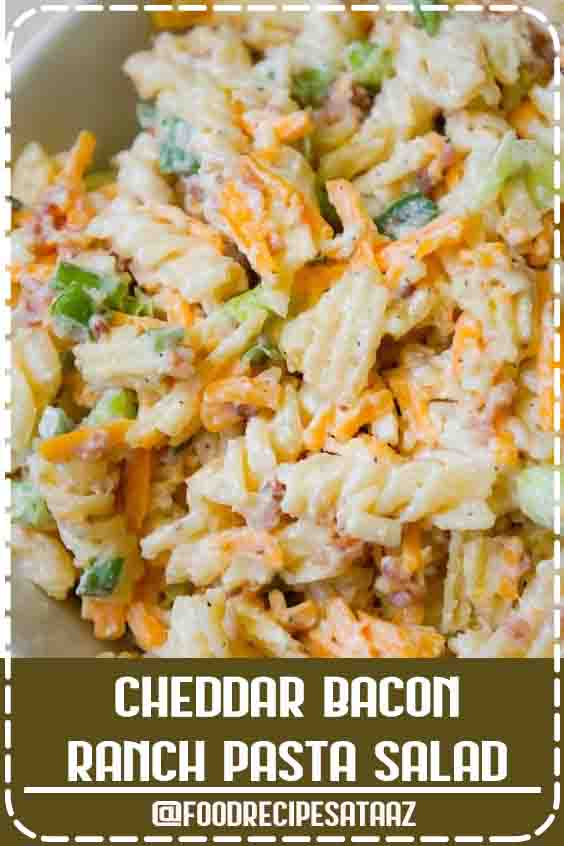 4.4 ★★★★★ | Cheddar Bacon Ranch Pasta Salad is a quick and easy cold side dish recipe perfect for summer. This creamy pasta salad is loaded with shredded cheddar cheese, bacon, green onions and crumbled potato chips. #Cold #Summer #Salad #RanchPasta