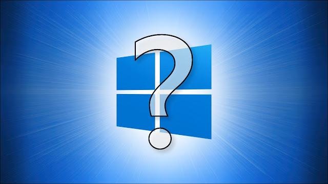 شعار Windows 10 مع علامة استفهام أمامه