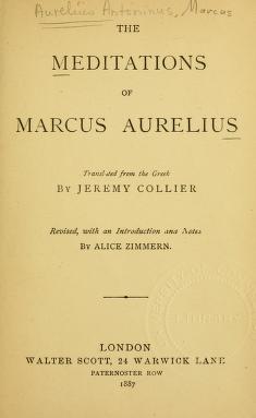 The meditations of Marcus Aurelius  Jeremy Collier Translation