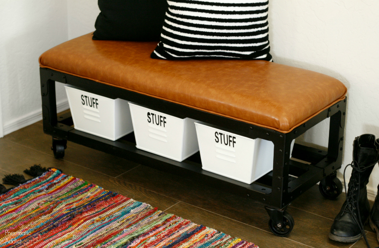 DIY black metal wood and leather entryway bench