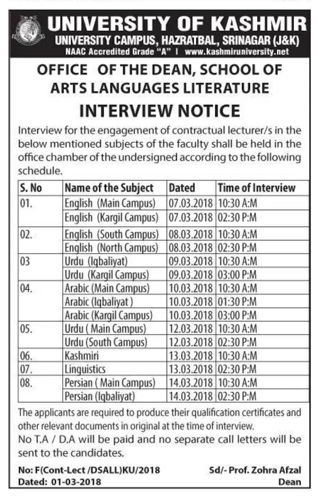 INTERVIEW NOTICE for Various Job Posts Under University of Kashmir