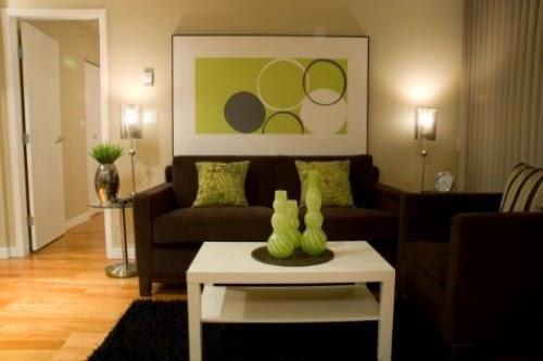 sala en verde marrón