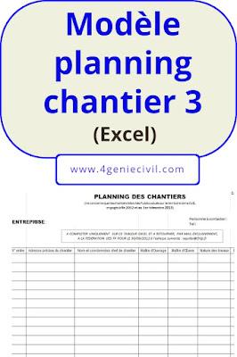 Modèle planning chantiers excel - exemple 2