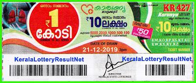 kerala lottery result 21-12-2019 Karunya KR 427 (keralalotteryresult.net)