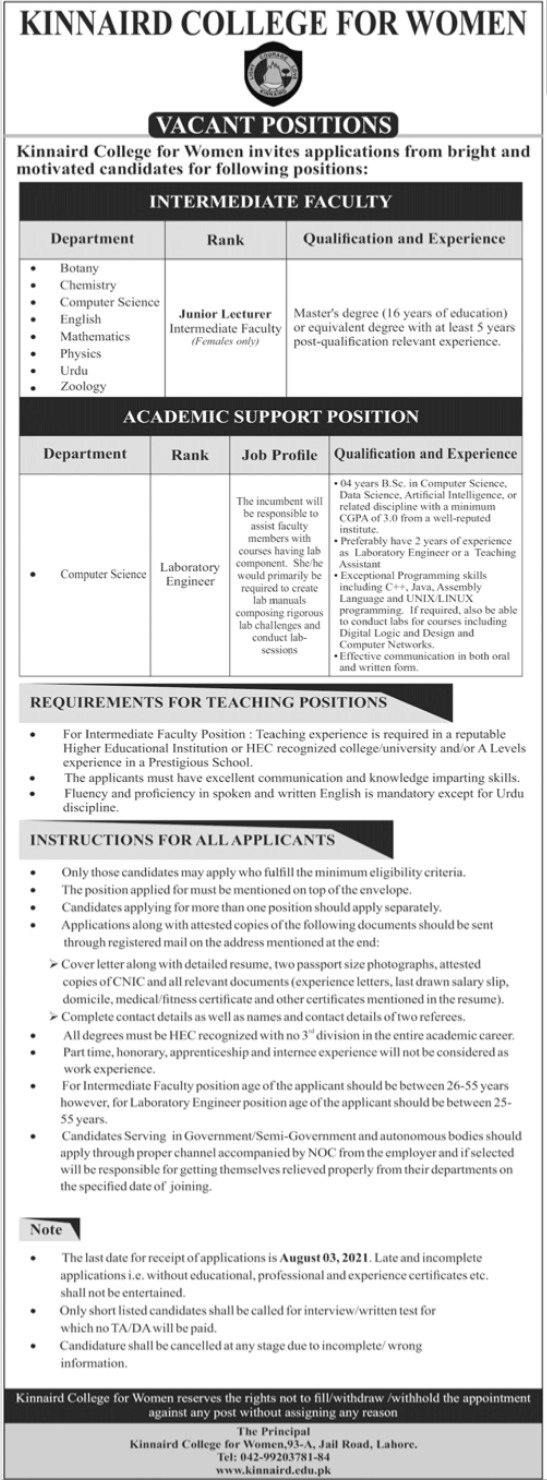 Kinnaird College for Women Jobs 2021 in Lahore