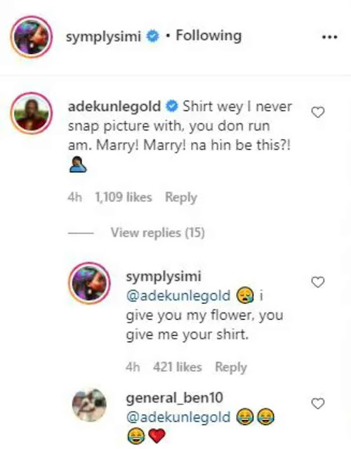 See what marriage has done to me- Adekunle Gold Reacts As Simi wore His New Shirt