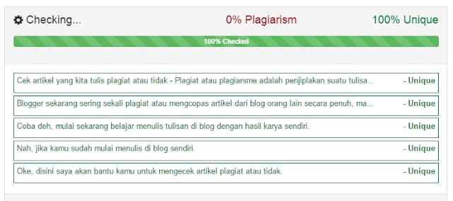 cek plagiarism hasilnya 0% dan pasti 100% unik