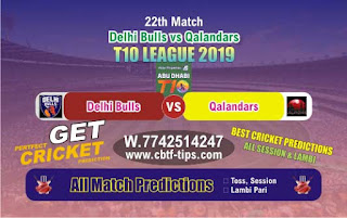 Who will win Today T10 League 2019, 22nd Match Qalandars vs Delhi, 100% Sure Prediction