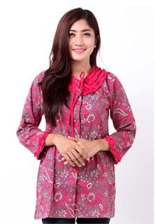 model baju batik kerja kombinasi bertali leher