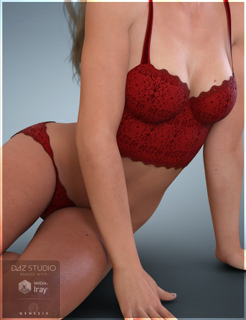 Lace Bustier Set for Genesis 3 Female