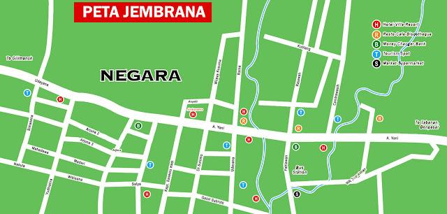 Gambar Peta wisata kecamatan Negara ibukota Jembrana