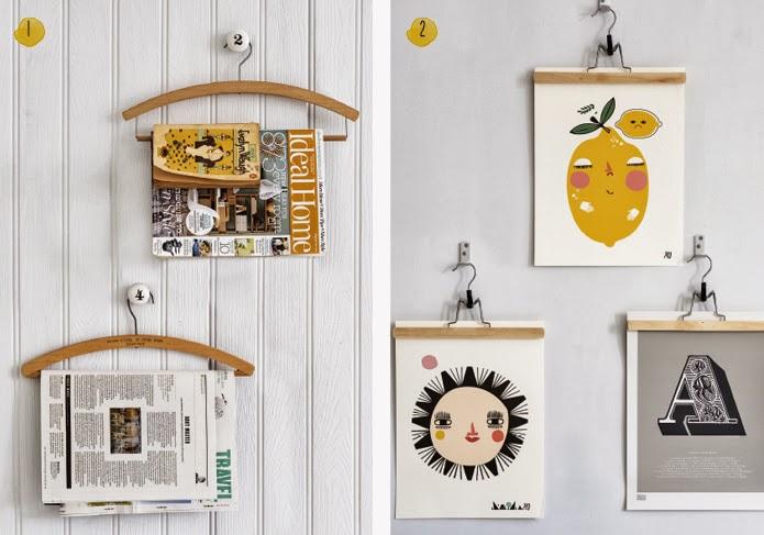 creatividad y reciclaje con perchas: exponer obras de arte