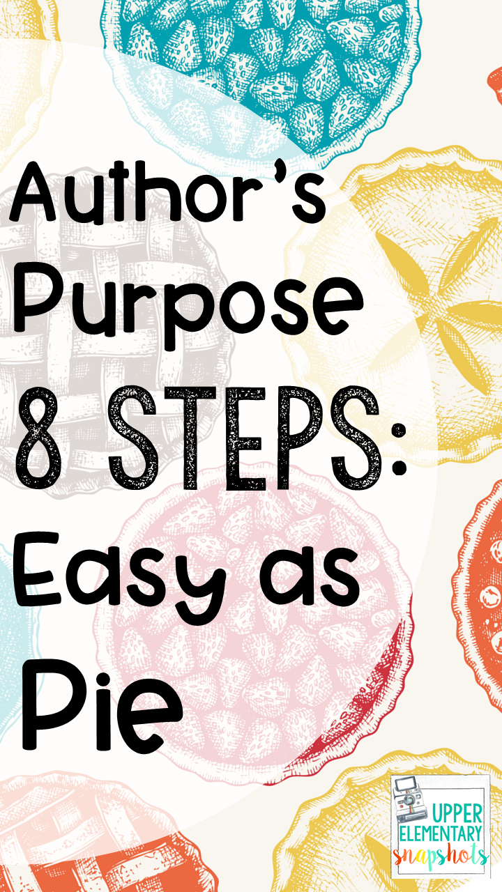 Author's Purpose: 8 Steps Easy as Pie   Upper Elementary Snapshots [ 1280 x 720 Pixel ]