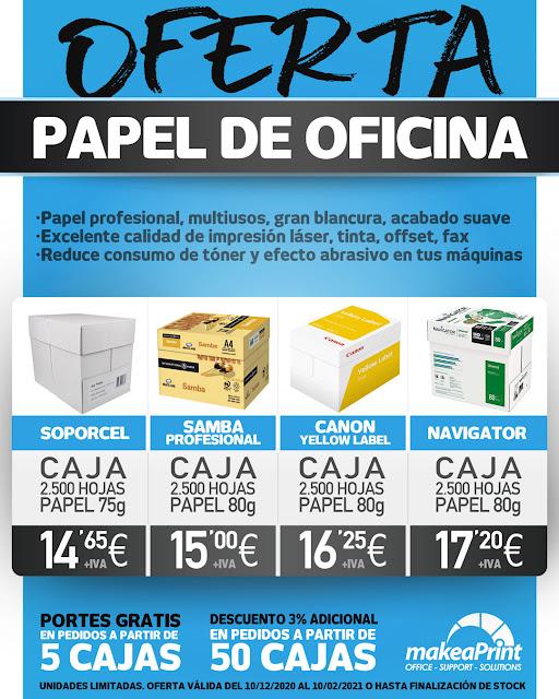 Oferta papel de oficina profesional. 2500 hojas desde 14,65€ + iva.