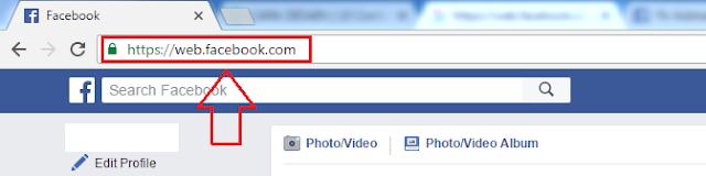 Apakah alamat 'web.facebook.com' aman untuk mengakses website Facebook?