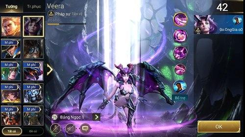 Bảng kỹ năng điển hình của Veera