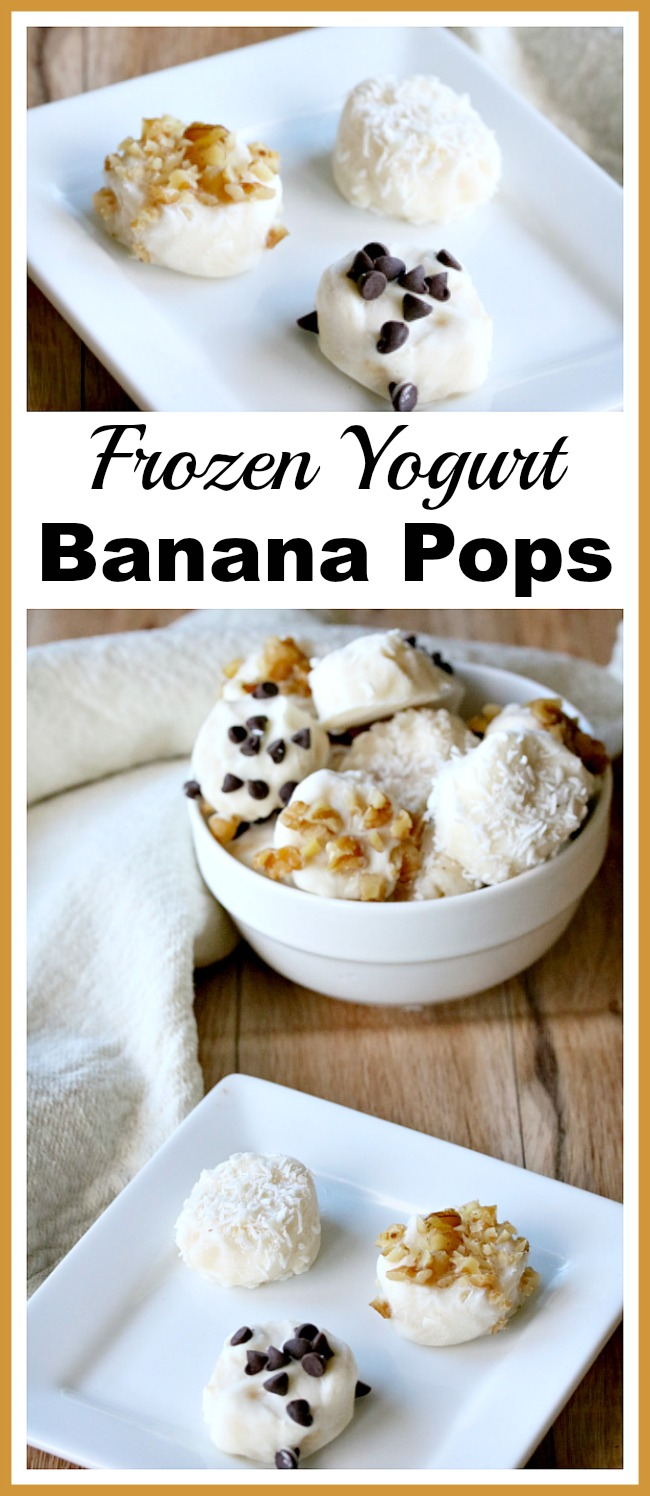 Frozen Yogurt Banana Pops- These easy frozen yogurt banana pops are the perfect no-bake dessert treat for a hot day! Customize yours with the topping of your choice!   summer dessert, cold food, easy recipe, healthy dessert, no refined sugar, ways to use up old bananas, snack, recipe