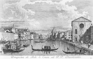 Visentini's engraving, a copy of a Canaletto painting, looking east along the Grand Canal from Santa Croce