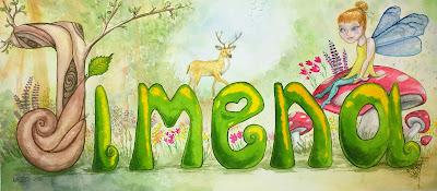Female / girl name Tree's letters model JIMENA by Elizabeth Casua, tHE 33ZTH oRDER watercolour artwork