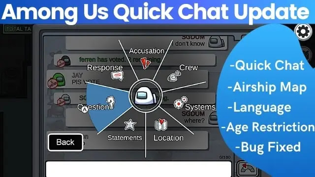 among us update quick chat
