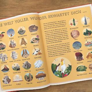 """""""Die Wunder der Welt"""" erzählt von Ben Handicott, illustriert von Lucy Letherland, erschienen im Verlag Kleine Gestalten, ist ein 88seitiges Kindersachbuch ab 8 Jahren, Rezension auf Kinderbuchblog Familienbücherei"""