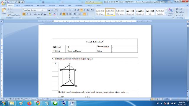 Soal Matematika Kelas 6 Bangun Ruang dan Kunci Jawaban K13