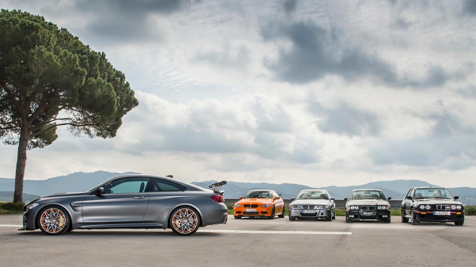 Bốn đàn anh của BMW M4 GTS là BMW M3 Sport Evo - 1990, BMW M3 GT - 1995, BMW M3 CSL - 2003, BMW M3 GTS - 2010 đều là những dòng xe huyền thoại