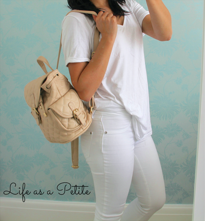 White on White Casual Chic Outfit IDea. Forever21 Quilted Pink Backpack