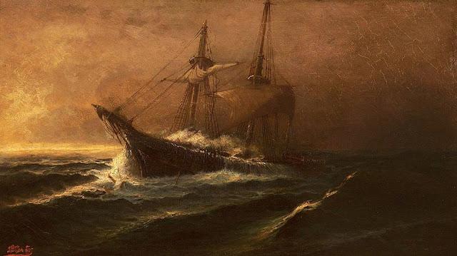 Ιωάννης Πούλακας - Αρχές 20ου αιώνα ιστιοφόρο σε ταραγμένη θάλασσα