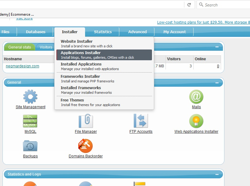 OpenCart, Freehostia, instaling application in root