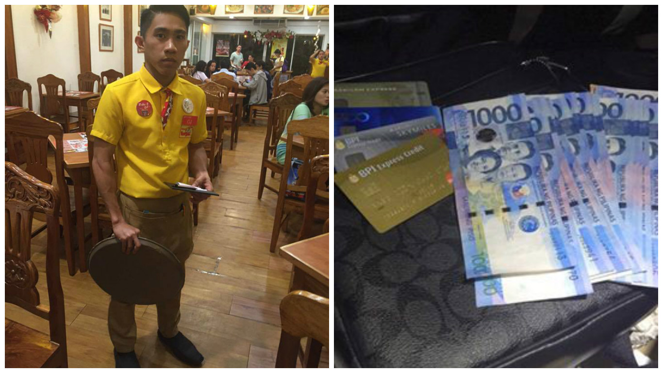 Honest restaurant staff gains online fame for returning bag with P37K cash