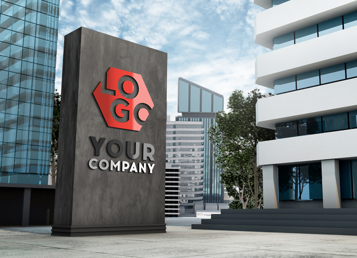 Mockup 3D Logo Facade Sign Standing In Front Of Modern Building