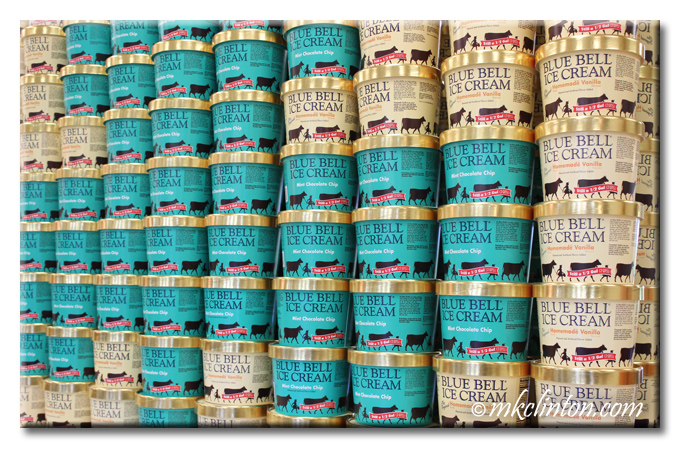 Wall of Blue Bell ice cream cartons