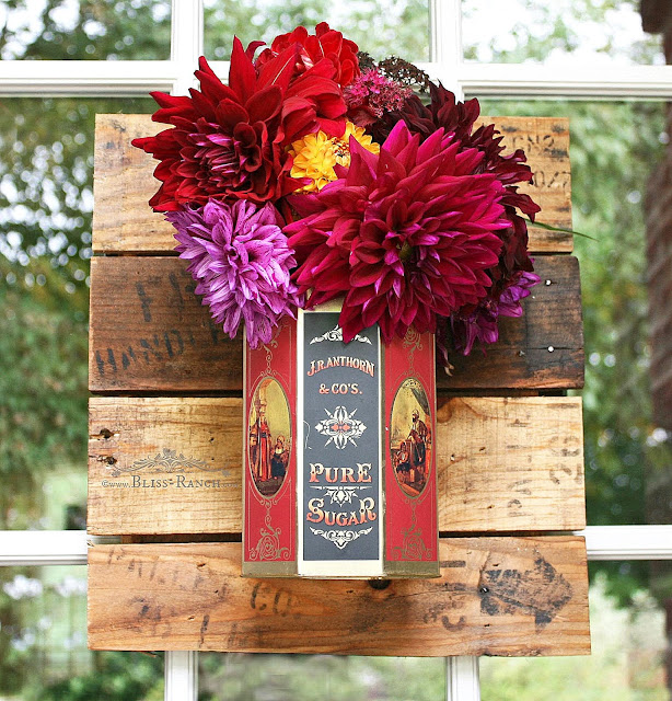 Fresh Flower Door Wreath Pallet Wood Dahlia Bliss-Ranch.com