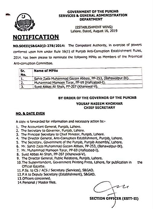 NOTIFICATION OF MPAs AS MEMBERS OF PROVINCIAL ANTI-CORRUPTION COMMITTEE