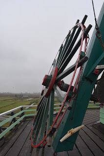 Wheel used to control the orientation of the sails, De Kat, Zaanse Schans, Zaandam, The Netherlands