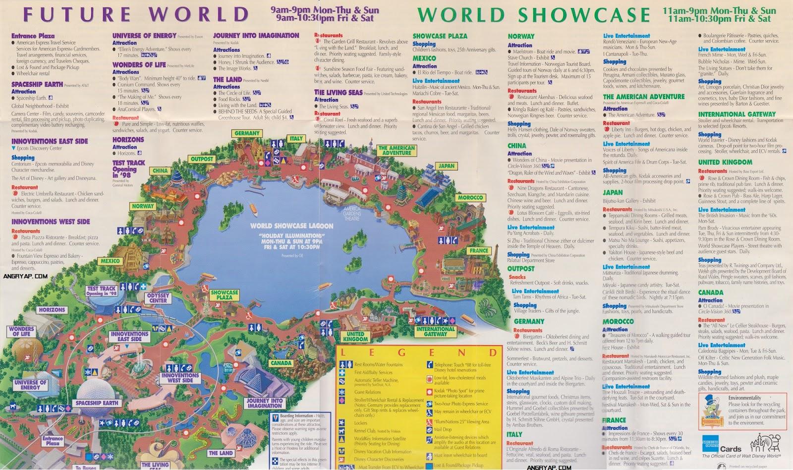 Angry AP - Disneyland and Walt Disney World nostalgia: Epcot ... on disney halloween party map, disney dolphin map, disney area map, disney animal kingdom map, orlando map, disney studios map, disney star wars map, downtown disney map, disney water parks map, disney world map, disney pixar map, disney tomorrowland map, disney fantasyland map, disney france map, disney's blizzard beach map, disney pirates of the caribbean map, disney amusement park map, disney boardwalk map, disney magic kingdom, disney palm golf course map,