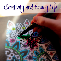 A child's hand colouring a picture of a cat, with the title Creativity and Family Life