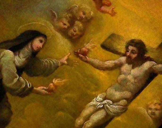 Detalhe de quadro de Santa Lutgarda (1182-1246), primeira santa medieval que recebeu a graça de trocar de coração com Jesus. Soeur Marie des Vallées abriu uma via para muitos escolhidos