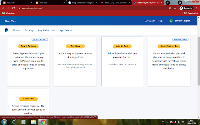 Integrate add to cart option for blogger, sell for free online