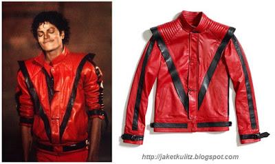 Gambar Jaket Kulit Michael Jackson Merah Hitam Thriller
