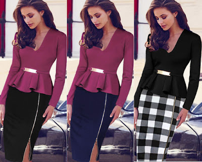 Casual Business Dress Ladies Women Patchwork Ruffles V Neck Peplum