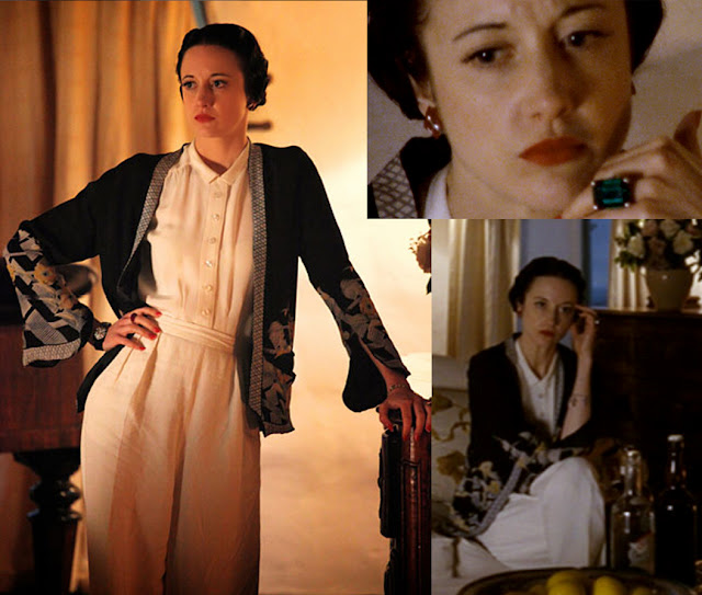 Fabulous Film Fashions W.E.  - Wallis - White Trousers & Blouse with Kimono Jacket