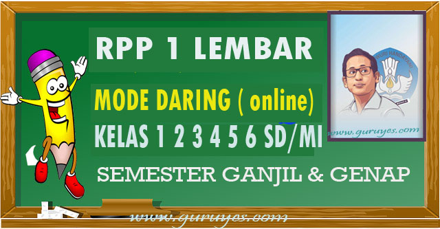 Contoh RPP Daring 1 Lembar SD Kelas 1 2 3 4 5 & 6 Semester 1 2